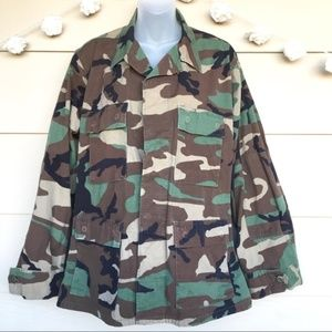 Army Camo Jacket Shirt Coat Men's Medium Short